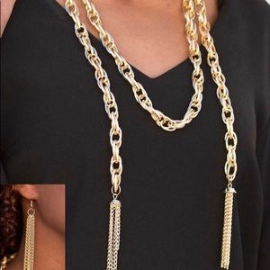 Gold scarfed for attention necklace